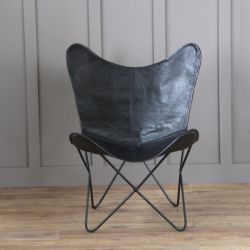 Butterfly Accent Chair, Genuine Leather, Black