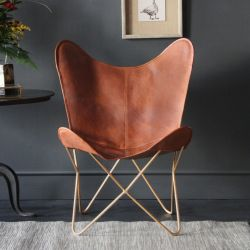 Butterfly Accent Chair, Genuine Leather, Tan, Gold base