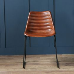 Deluxe Road House Dining Chair, Black Base, Brown Ribbed Seat