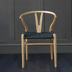 Hans Wegner Wishbone Chair, Natural Ash, Black Seat