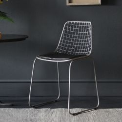 Nickel Wire Dining Chair, Black Seat Pad
