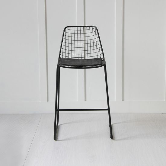Black Wire Bar Stool with Black Seat Pad