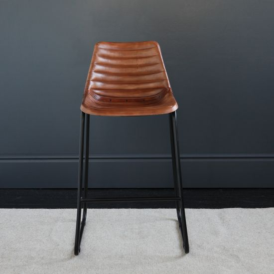 Road House Bar Stool, Brown, Ribbed Seat, 67cm