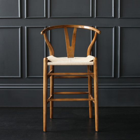 Wishbone Bar Stool Hans Wegner Style Dark Oak Ash Natural Seat Breakfast Kitchen 66