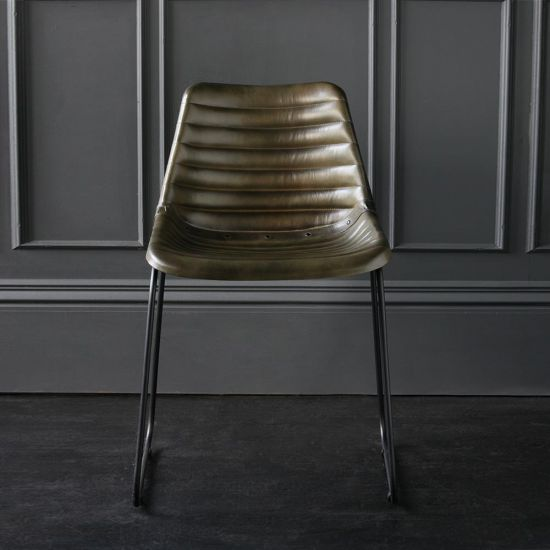 Deluxe Road House Dining Chair Olive Green Ribbed Seat - Black Base