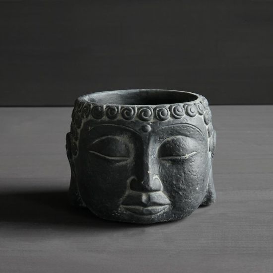 Buddha Small Head Plant Pot Individual Concrete Black Planter Display Ornament 11 cm