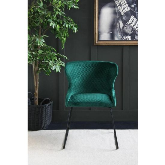 Casino Velvet Dining Chair – 70s Kitsch – Comfortable Dining Chair-Green