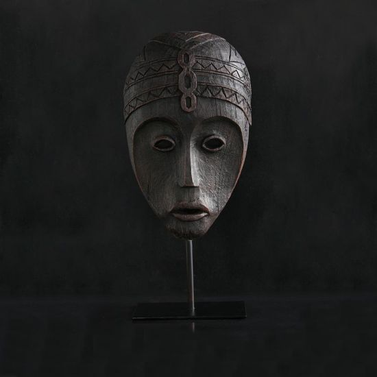 Chimalli Face Ornament Black Mask Home Decoration on Stand