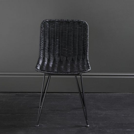 Lombok Dining Chair Black Rattan Closed Weave Outdoor Seating Garden Seat