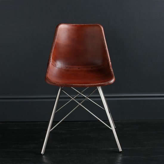 ROAD HOUSE Dining Chair With Nickel Cross Legs, Brown Plain Seat