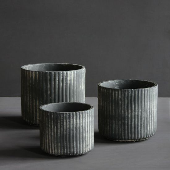 Set of 3 Sizes Nea Concrete Planters Pot Black Garden Display