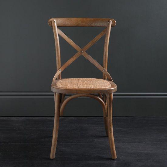 FRENCH Cross Back BENTWOOD Dining Chair, Café, Restaurant, Kitchen, DARK OAK