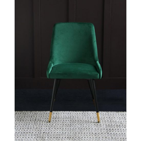 Mayfair Mid Century Velvet Dining Chair - Forest Green