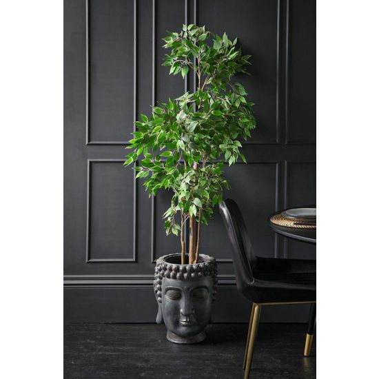 Buddha Head Polyresin Plant Pots Black Planters Display Ornament 44 cm