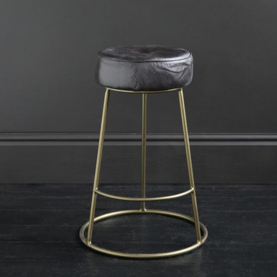 Wenlock 65 Antique Black Leather Round Bar Stool with Brass-Finished Pewter Frame and Footrest