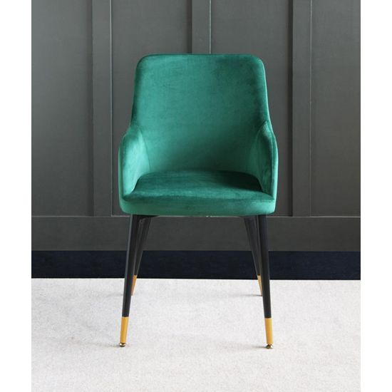 The Grand Forest Green Velvet upholstered dining chair with Pencil leg and raised sides