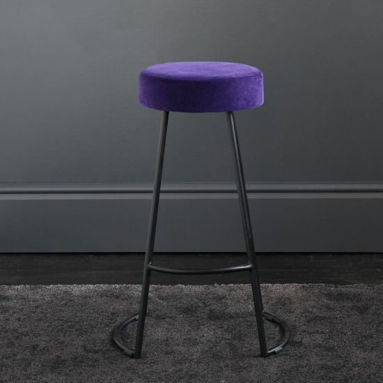Tapas Velvet Cocktail Bar Stools - Royal Purple Velvet Seat - Black base - 67cm