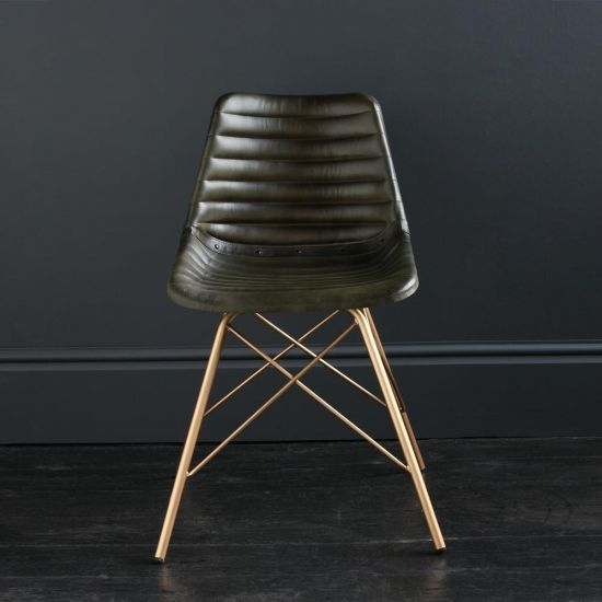 Gansevoort Chair Olive Green Ribbed Leather Seat with Gold Cross Legs Base