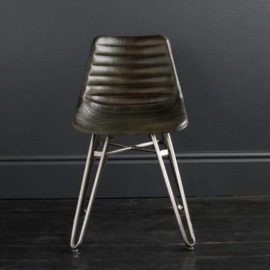 Gansevoort Dining Chair - Olive Green Ribbed - Nickel Base