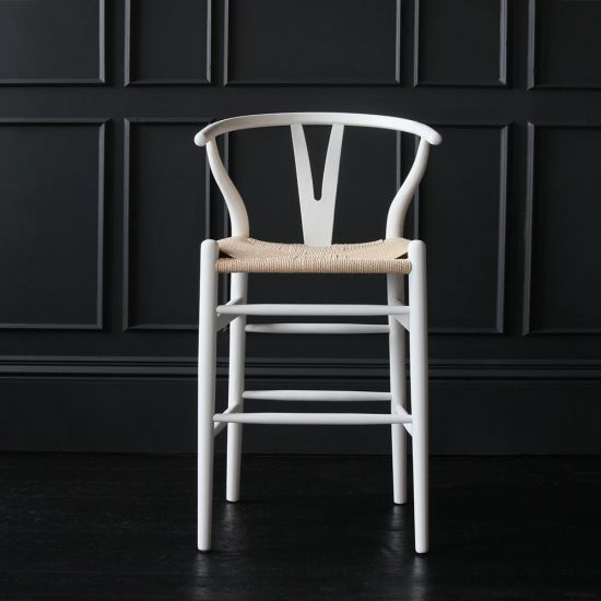 Wishbone Bar Stool Hans Wegner Style White Ash Natural Seat Breakfast Kitchen 66
