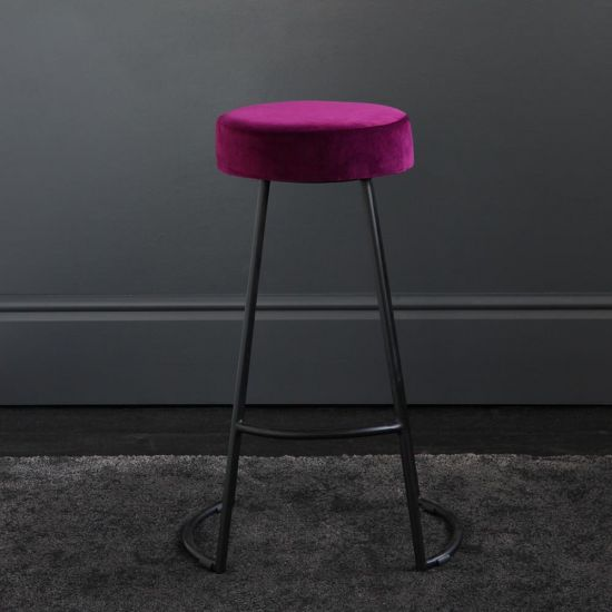 Tapas Velvet Cocktail Bar Stools - Pitaya Burgundy Velvet Seat - Black base - 67cm