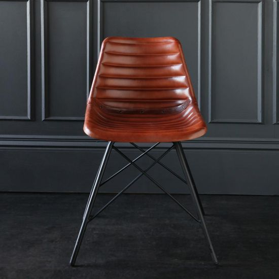 ROAD HOUSE Dining Chair with Tan Ribbed leather Seat & Black Cross Legs