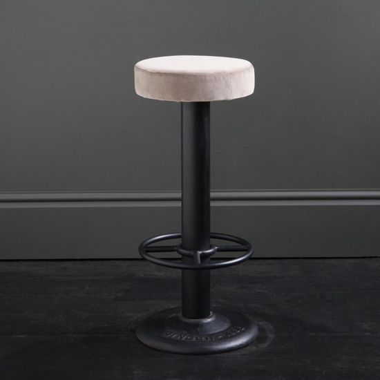 Pole Bar Stool - Linen Velvet - Black Base - 70