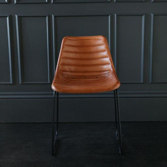Deluxe Road House Dining Chair, Black Base with Tan Ribbed seat