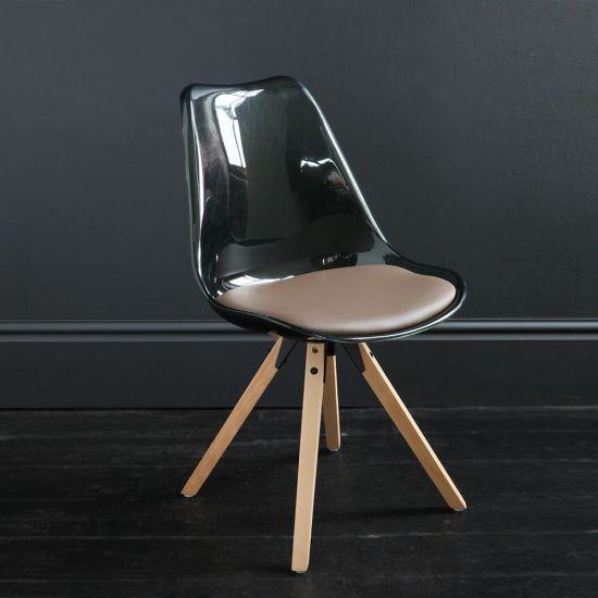 : Jamie Dining Chair Black Resin Seat Natural Wood Base Scandinavian Nordic Seating