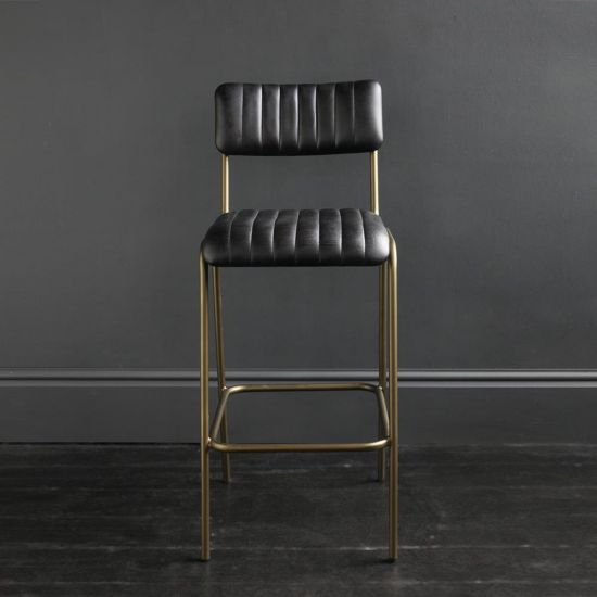 Diner Bar Stool Black Buffalo Leather Ribbed with Steel Frame Dull Gold Finish 75
