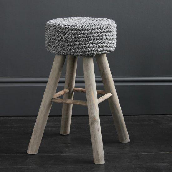 Eryk Cotton Top Bar Stool - Rope Seat - 60