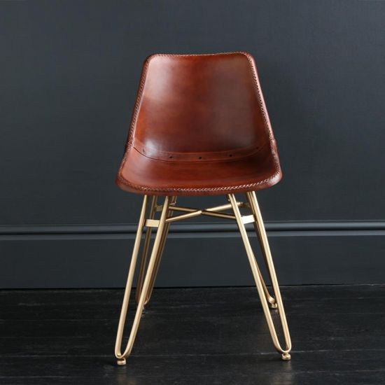 Gansevoort Dining Chair - Brown Plain - Gold Base
