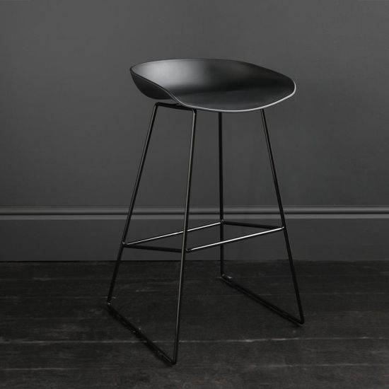 Clark Bar Stool Black Seat Black Metal Base Legs Kitchen Restaurant Café 66 cm