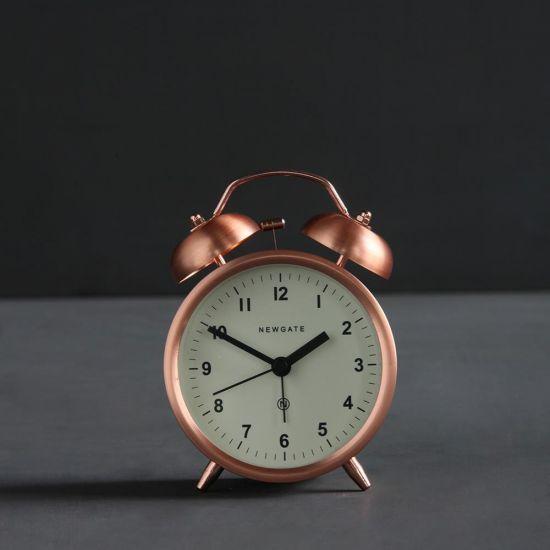 Charlie Alarm Desk Clock Traditional Copper - White Desck