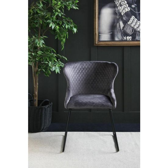 Casino Velvet Dining Chair – 70s Kitsch – Comfortable Dining Chair-Grey