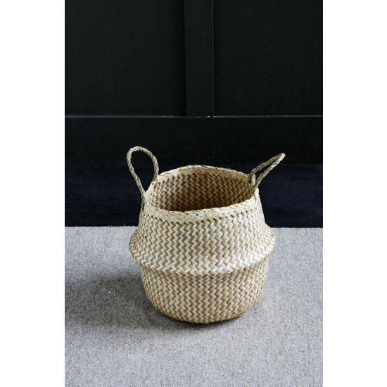 Seagrass ZigZag Natural Belly Basket Wickerwork 30 cm