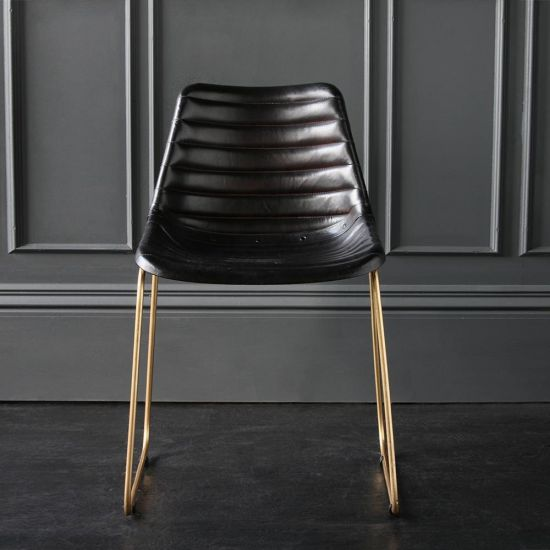 Deluxe Road House Dining Chair, Gold Base with Black Ribbed seat