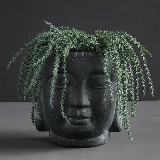 Buddha Head Plant Pot Concrete Black Planter Display Ornament 23 cm