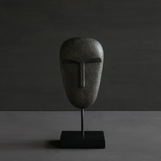 Garbo Black Face Mask Home Decoration on Stand