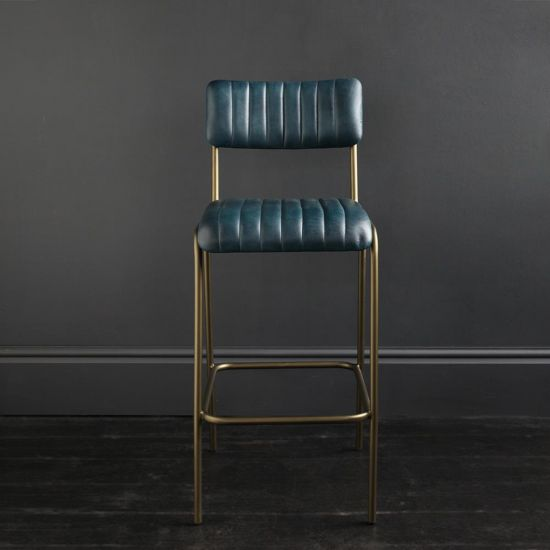 Diner Bar Stool Blue Buffalo Leather Ribbed with Steel Frame Dull Gold Finish 75