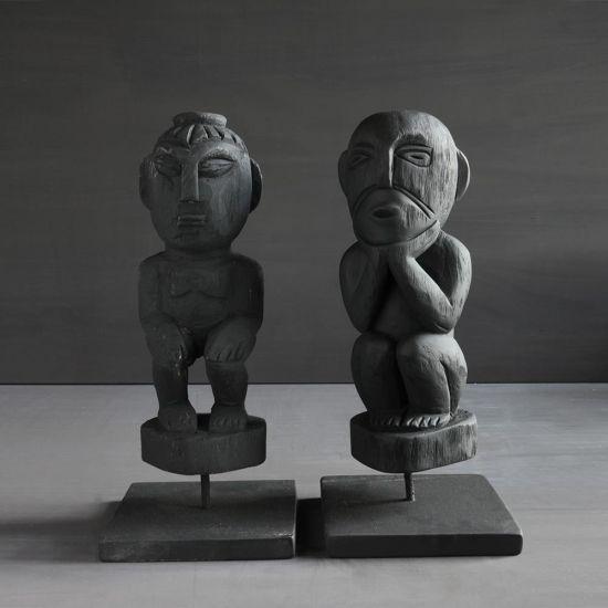 Set Of 2 Wood Figurine Decorative Statues Ornaments Home Décor Black 40 cm
