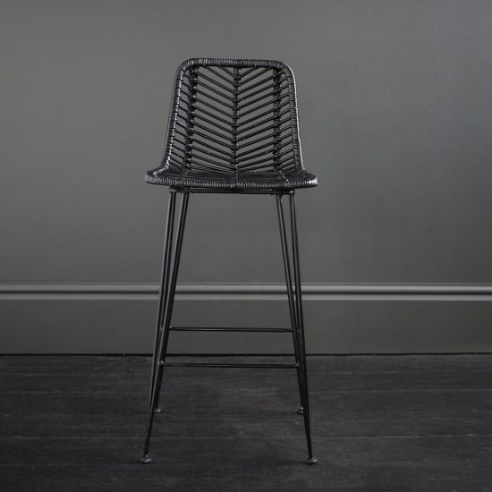 Jakarta Bar Stool – Black Rattan Bar Stool 66 cm Height