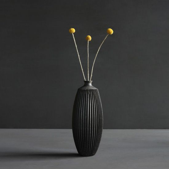Tall Matte Black Decorative Vase for Flowers Indoors Home Design Ornament