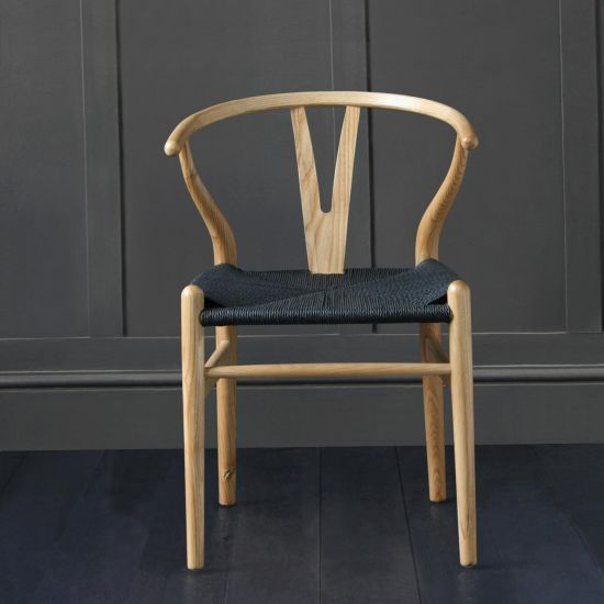 Wishbone Dining Chairs Hans Wegner Reproduction Natural /Ash and Black Seat