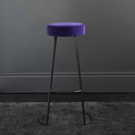 Tapas Velvet Bar Stools Stain Resistant Royal Purple Seat- Black Base - 75 cm