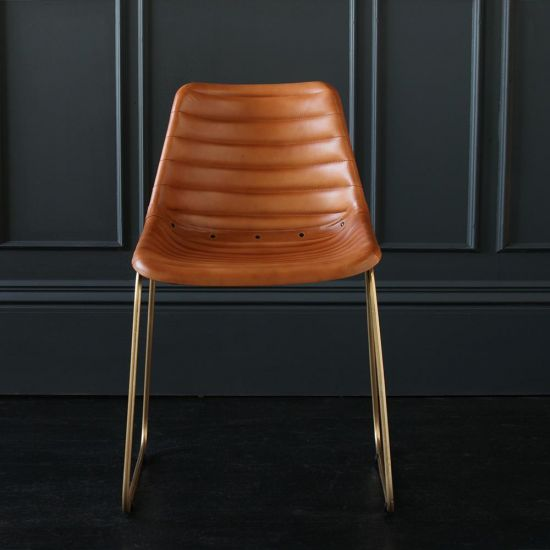 Deluxe Road House Dining Chair, Gold Base with Tan Ribbed seat