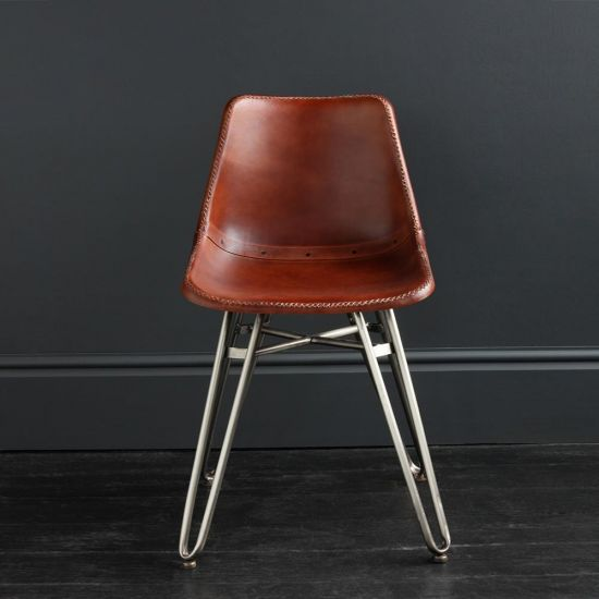 Gansevoort Dining Chair - Brown Plain - Nickel Base