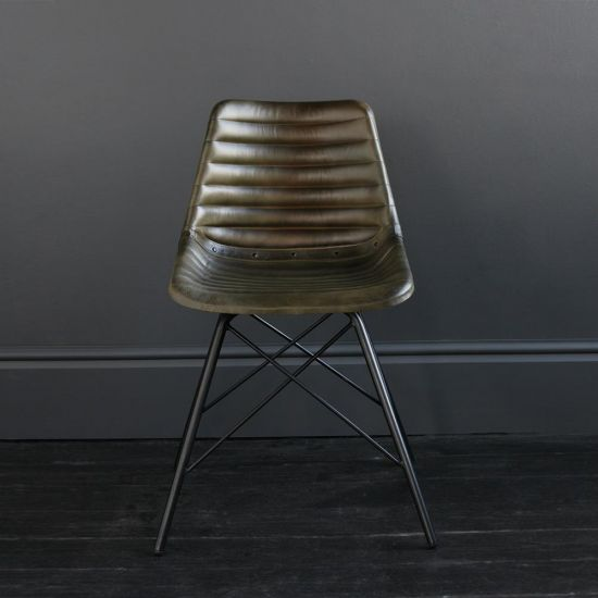 Gansevoort Chair Olive Green Ribbed Leather Seat with Black Cross Legs Base