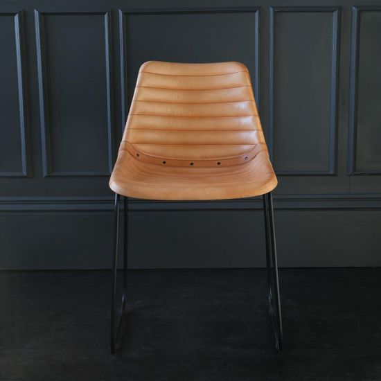 Deluxe Road House Dining Chair, Black Base with Camel Ribbed seat