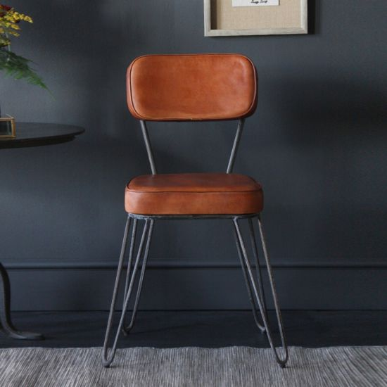 Hairpin Tan Industrial Dining Chair